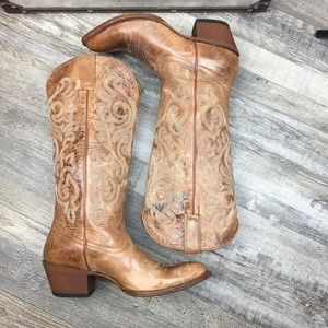 Shyanne Brown Leather Cowboy Boots Women Size 9.5